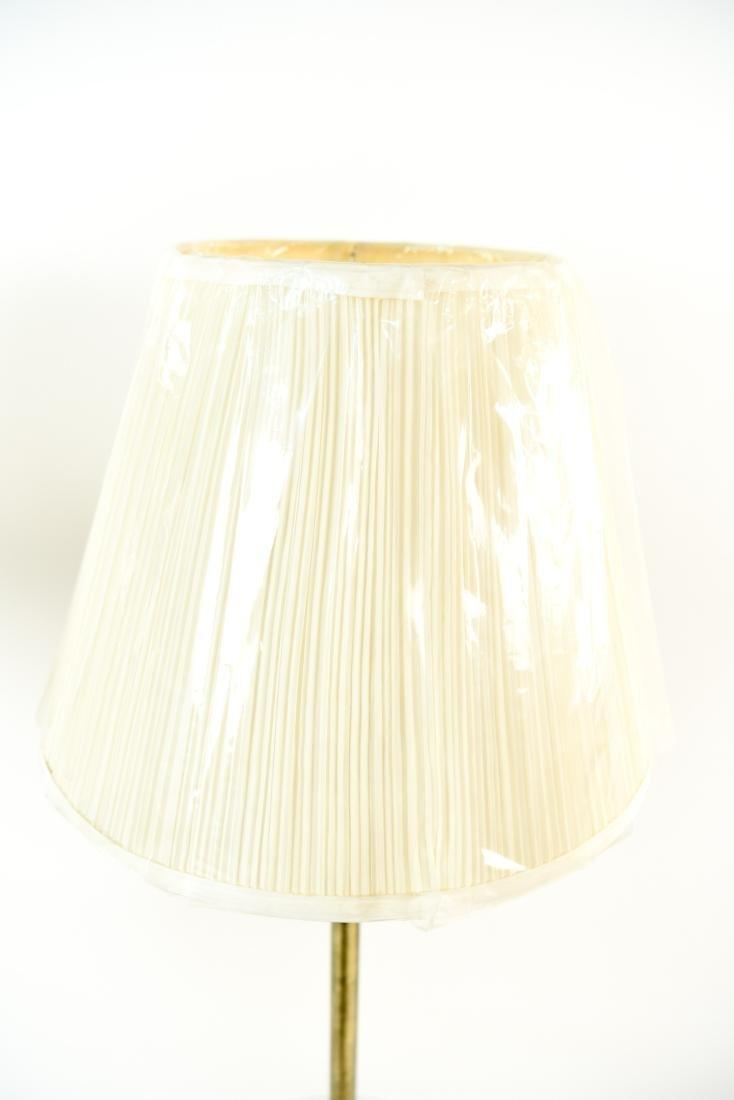 PAIR OF BRASS & WOOD FLOOR LAMPS - 8