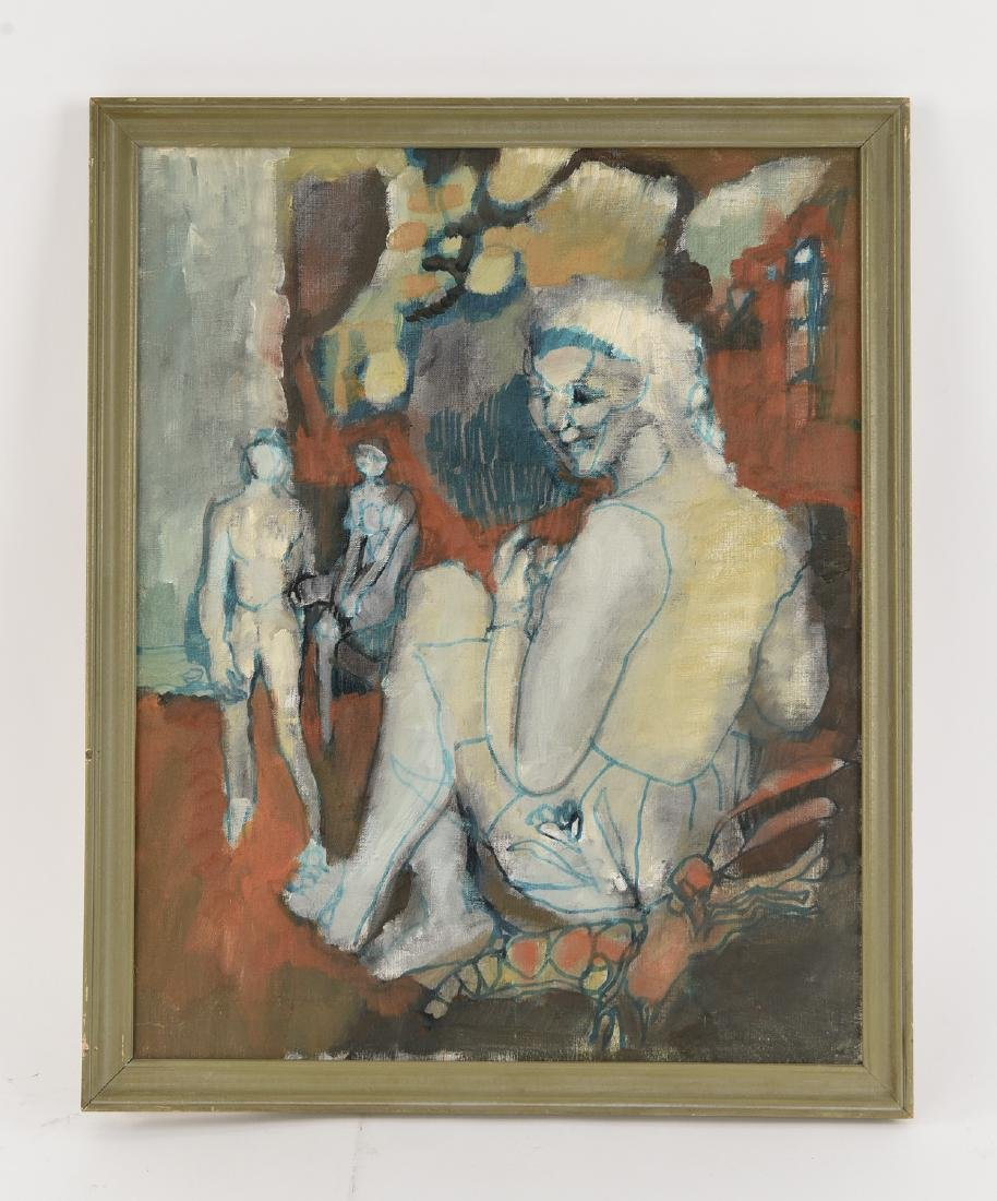 MID-CENTURY ABSTRACT FIGURES O/B PAINTING