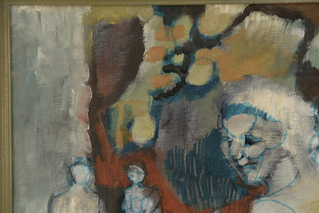 MID-CENTURY ABSTRACT FIGURES O/B PAINTING - 4