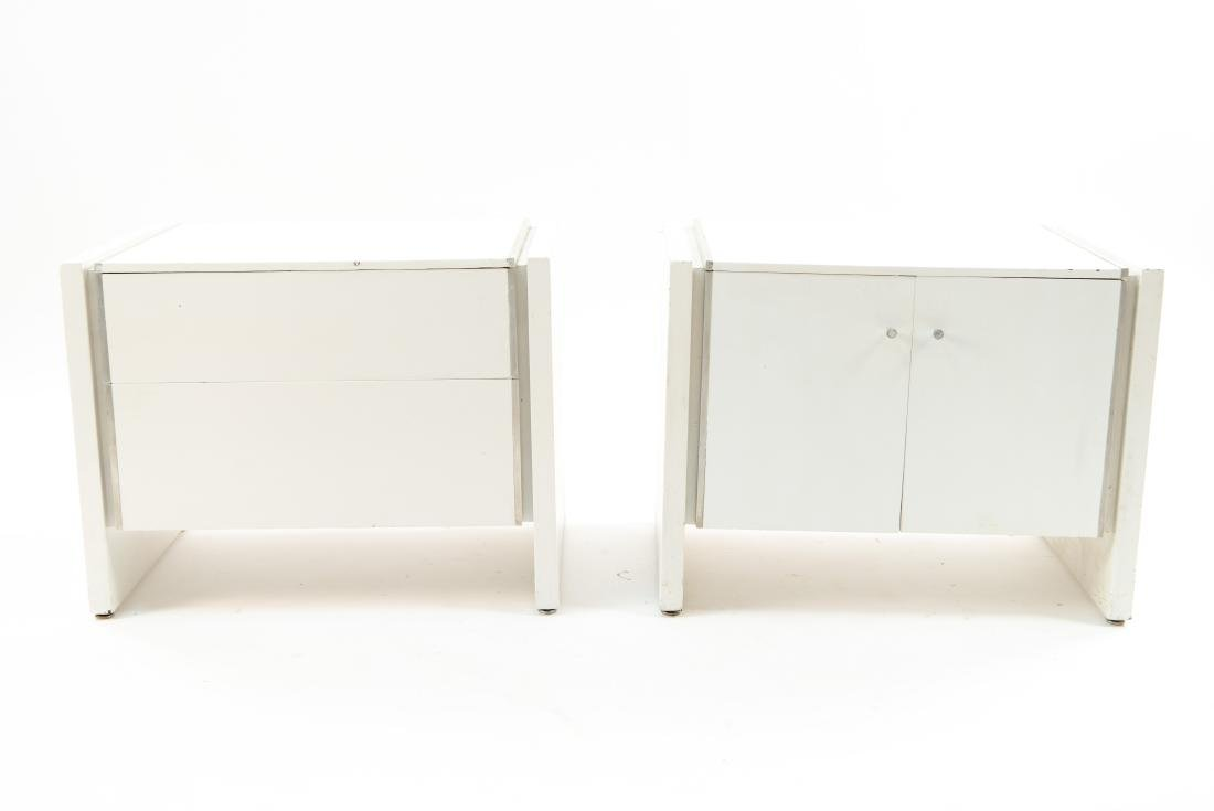 MID-CENTURY WHITE PAINTED PAIR END TABLES - 2