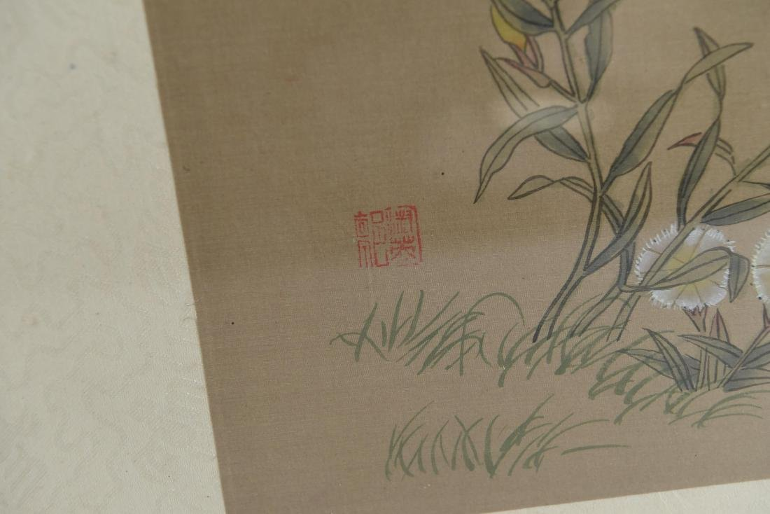 CHINESE BUTTERFLY & FLOWER WATERCOLORS ON SILK - 10