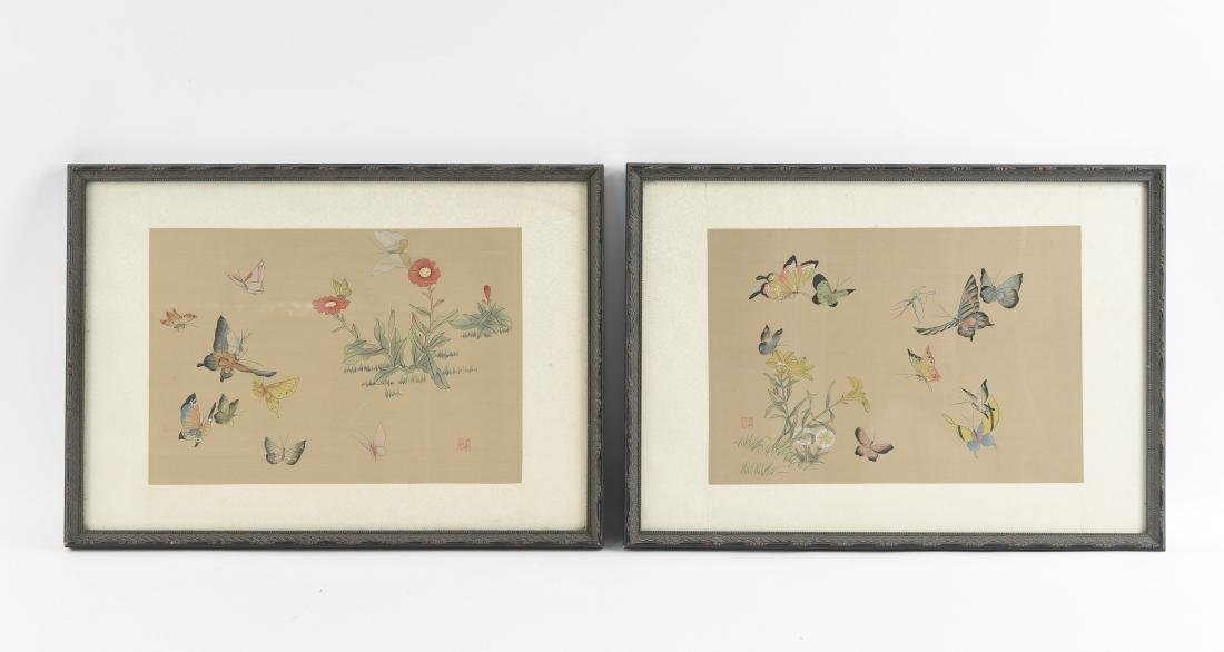 CHINESE BUTTERFLY & FLOWER WATERCOLORS ON SILK