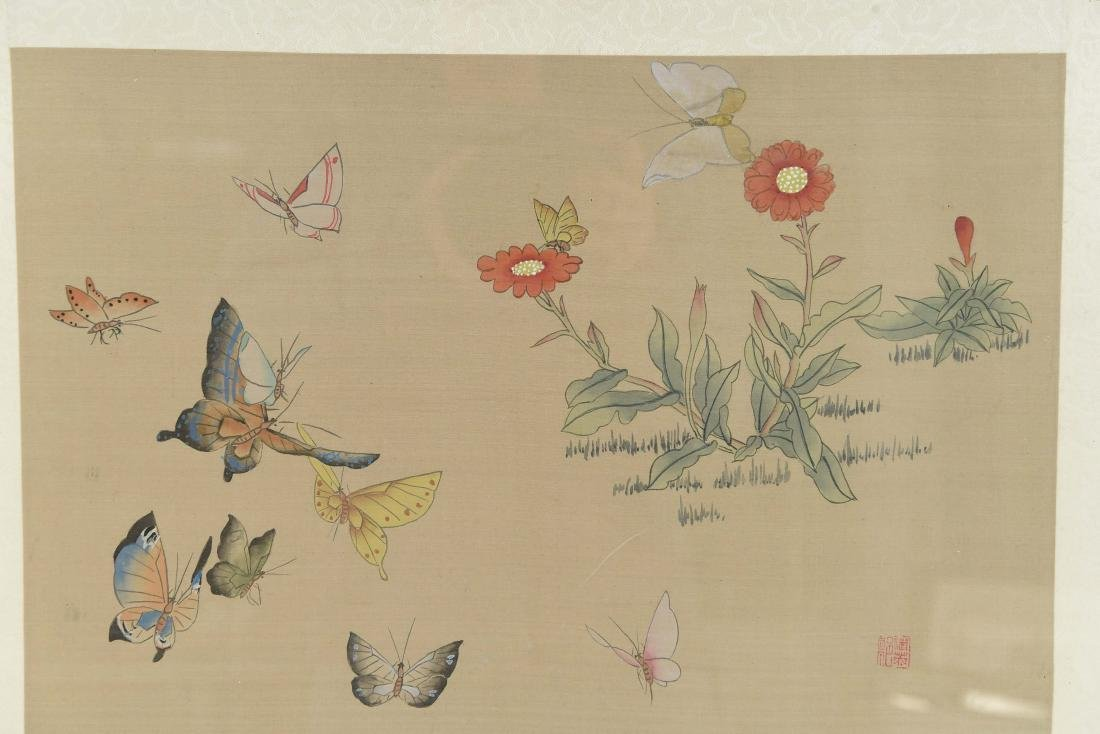 CHINESE BUTTERFLY & FLOWER WATERCOLORS ON SILK - 2