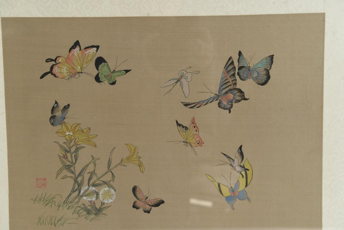CHINESE BUTTERFLY & FLOWER WATERCOLORS ON SILK - 3