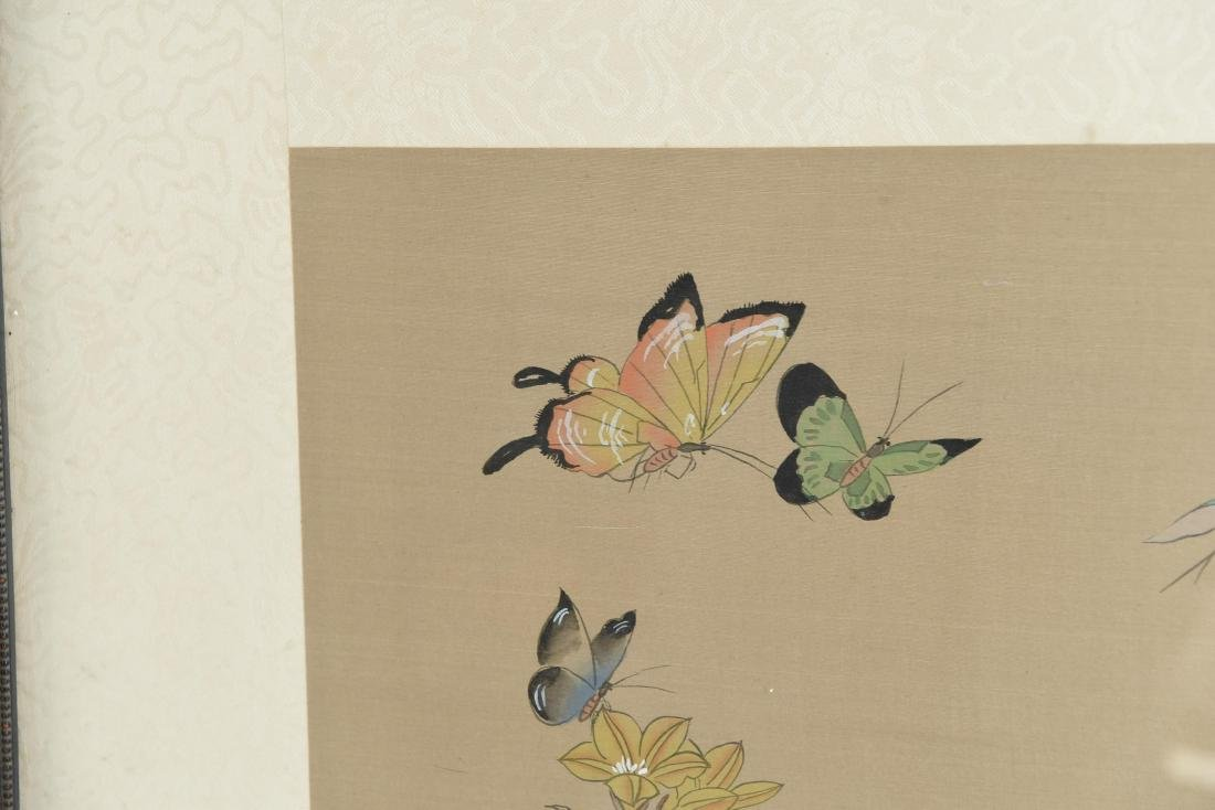 CHINESE BUTTERFLY & FLOWER WATERCOLORS ON SILK - 4