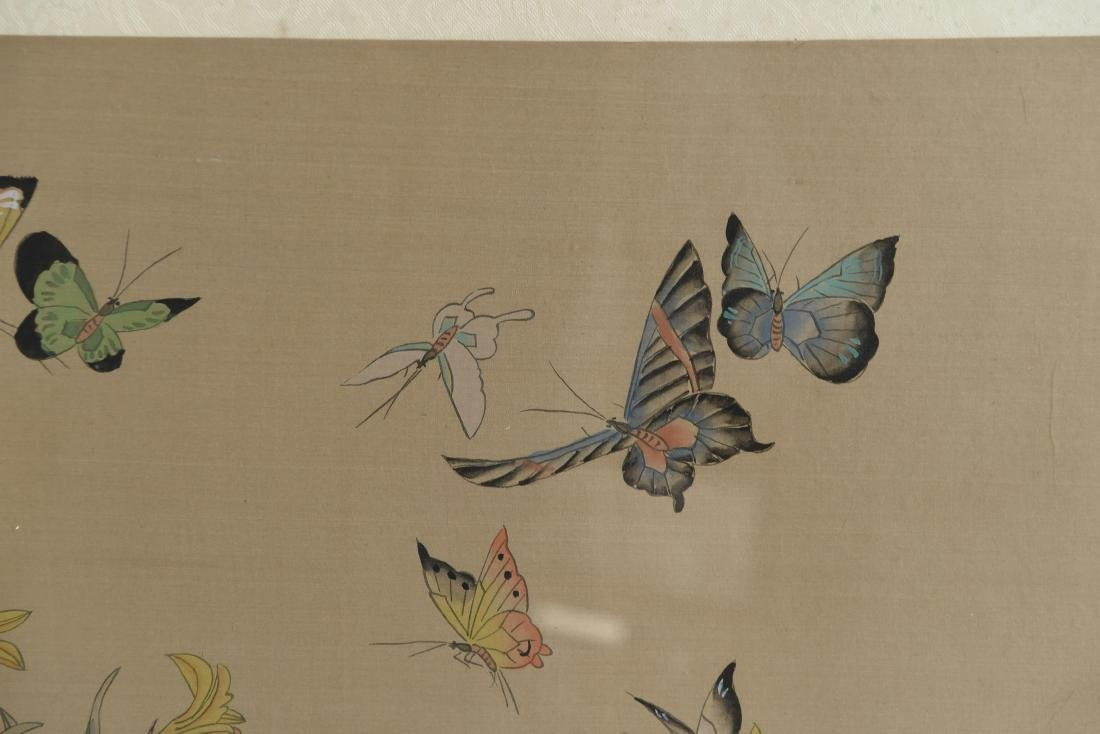 CHINESE BUTTERFLY & FLOWER WATERCOLORS ON SILK - 5