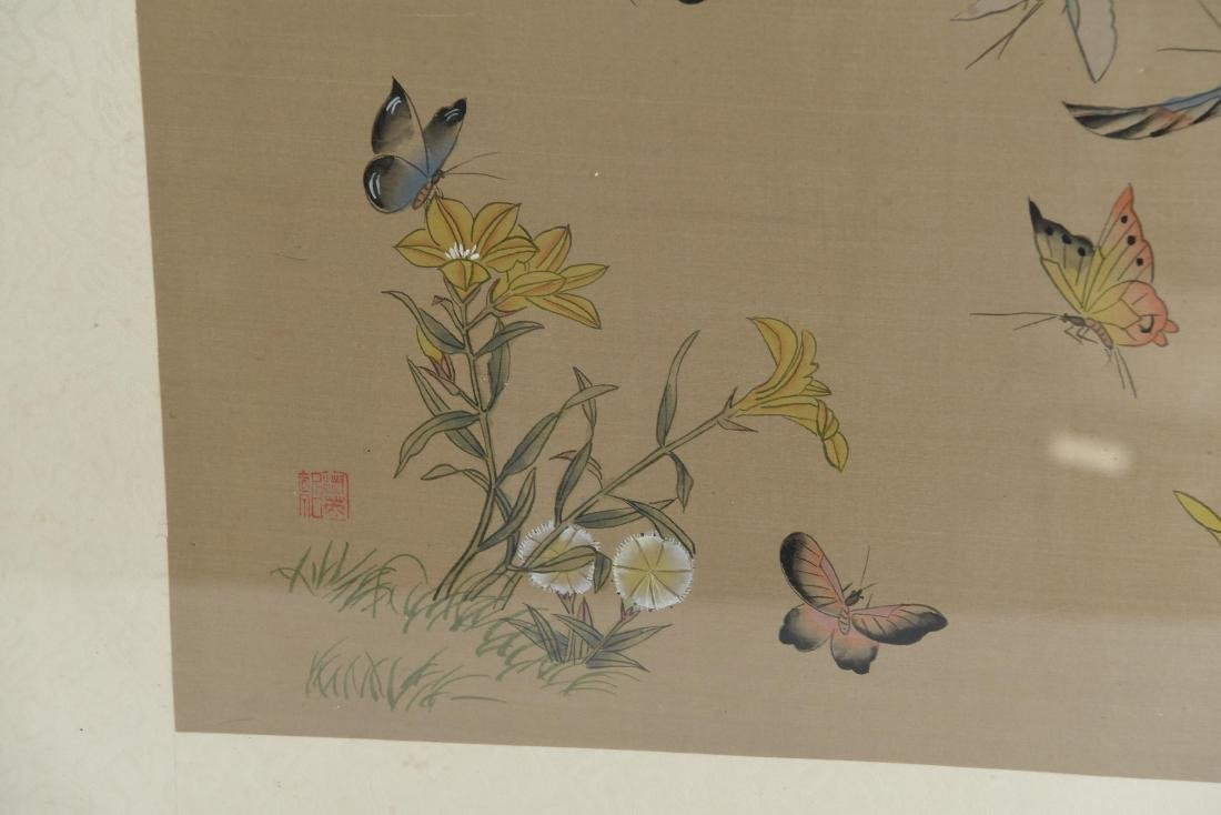 CHINESE BUTTERFLY & FLOWER WATERCOLORS ON SILK - 7