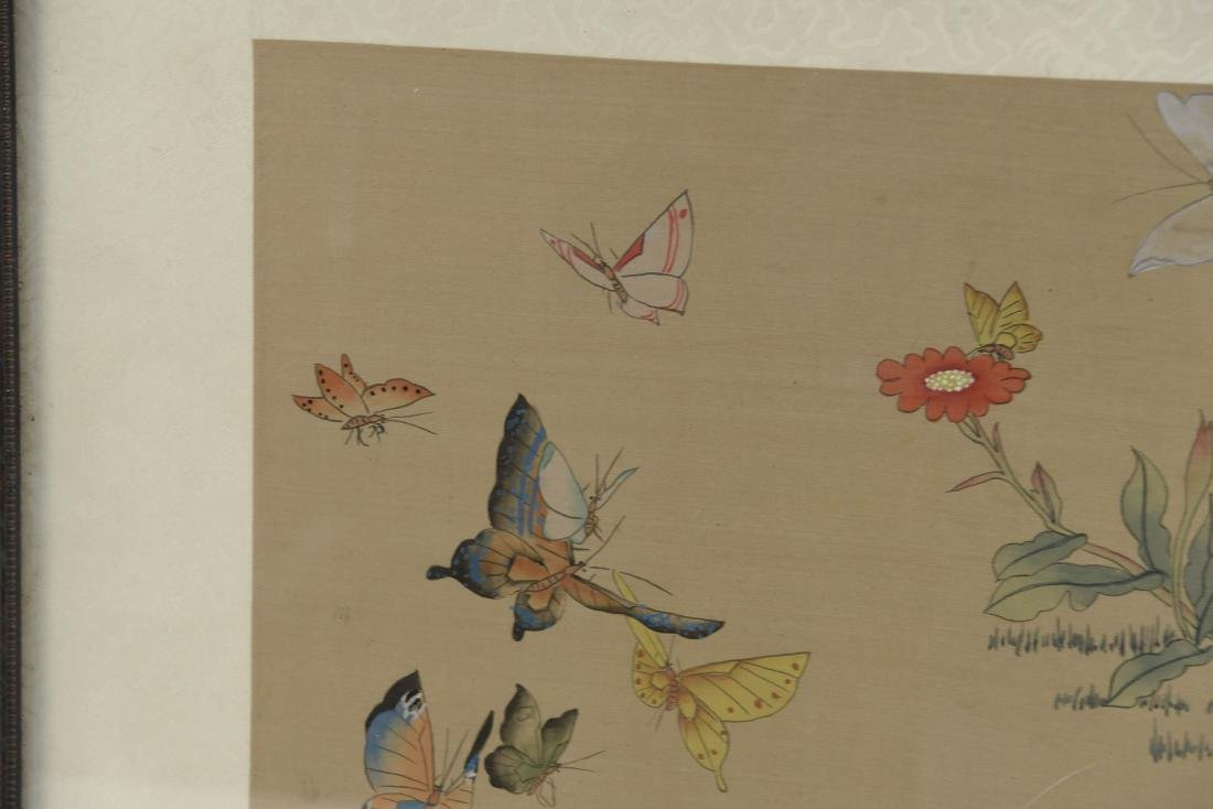 CHINESE BUTTERFLY & FLOWER WATERCOLORS ON SILK - 8