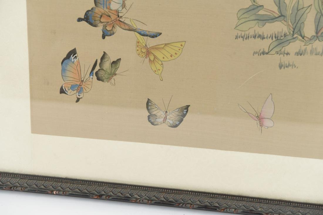 CHINESE BUTTERFLY & FLOWER WATERCOLORS ON SILK - 9