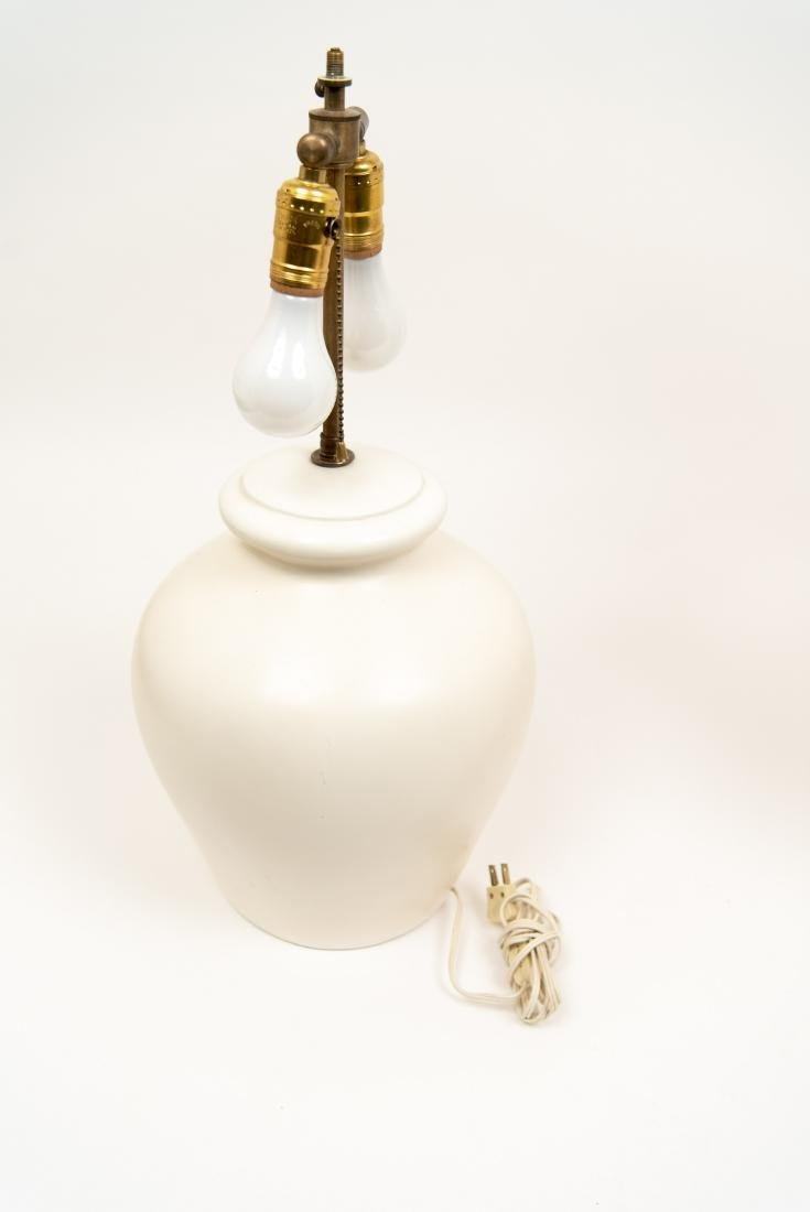 PAIR OF WHITE CERAMIC LAMPS - 10