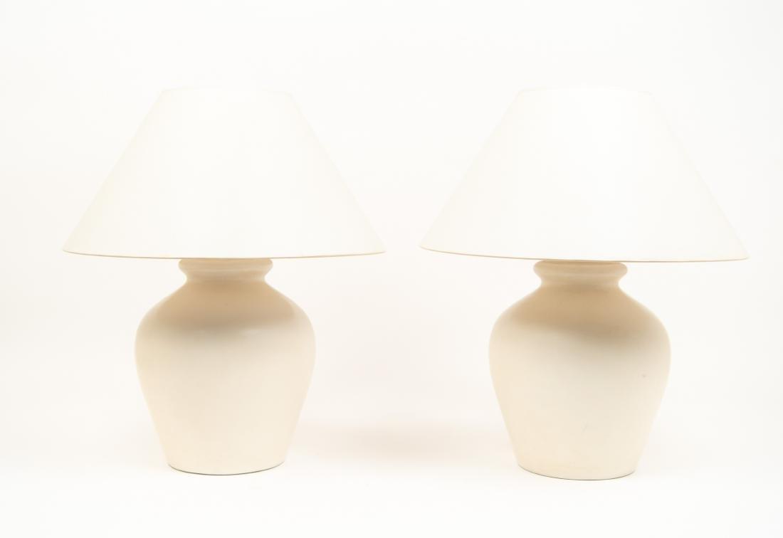 PAIR OF WHITE CERAMIC LAMPS - 2