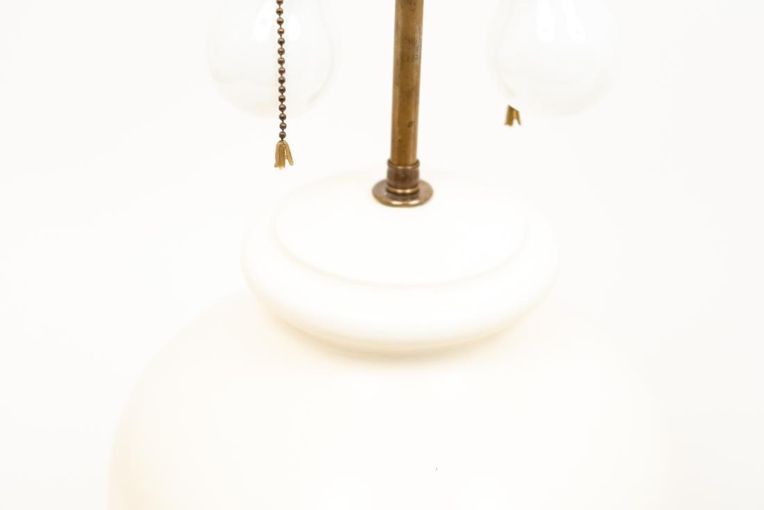 PAIR OF WHITE CERAMIC LAMPS - 8