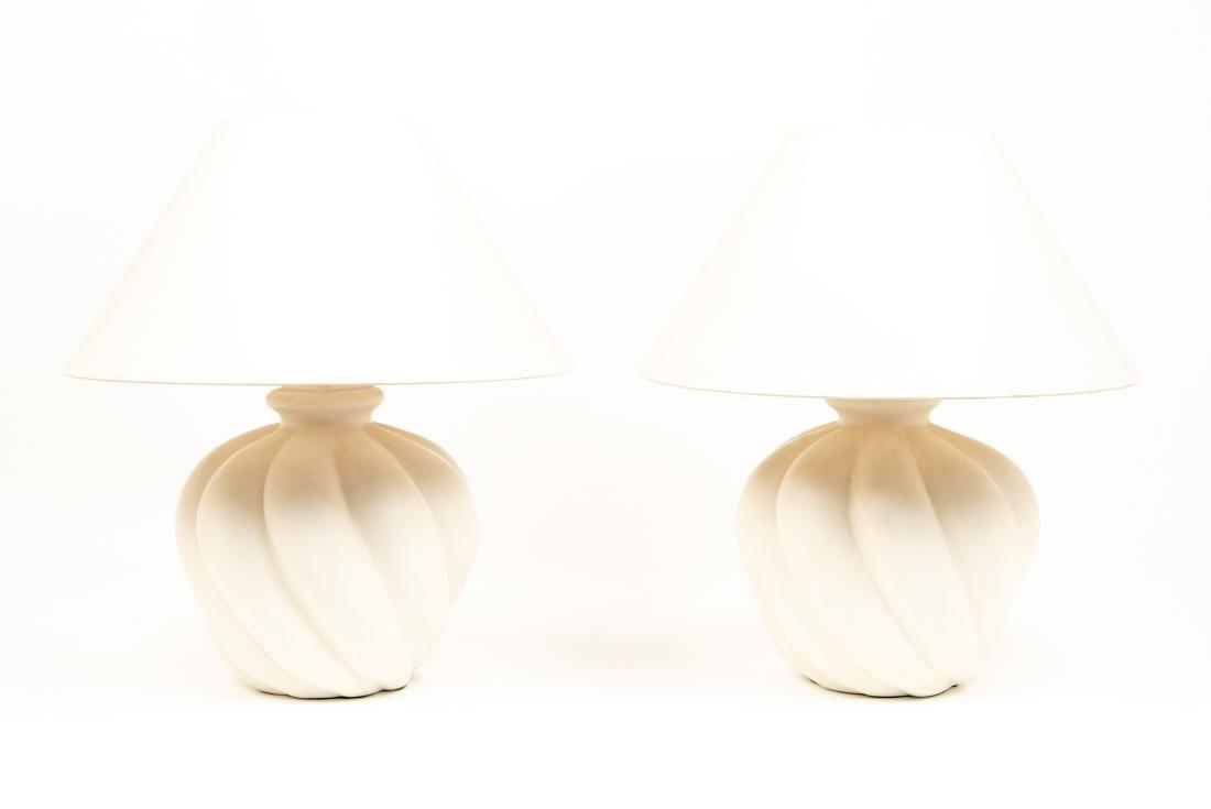 PAIR OF WHITE CERAMIC LAMPS