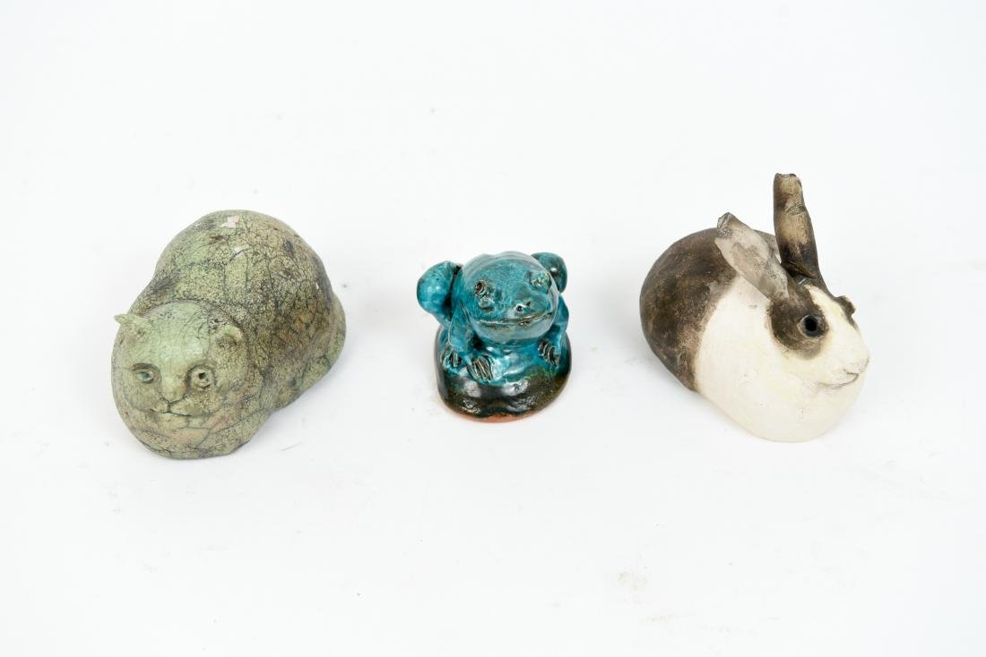 (3) SUSAN HALLS POTTERY ANIMAL SCULPTURES - 3