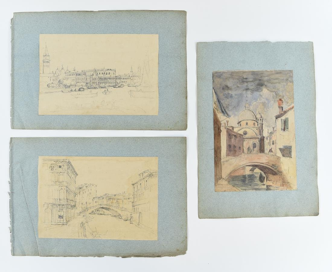 (3) LEAVES OF AN 1820'S/1930'S ITALIAN ART ALBUM