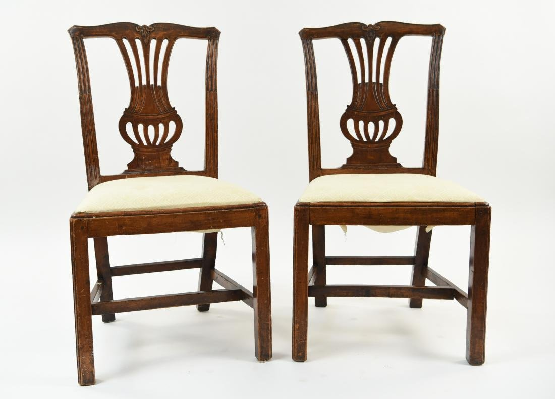 PAIR OF ENGLISH CARVED BACK SIDE CHAIRS