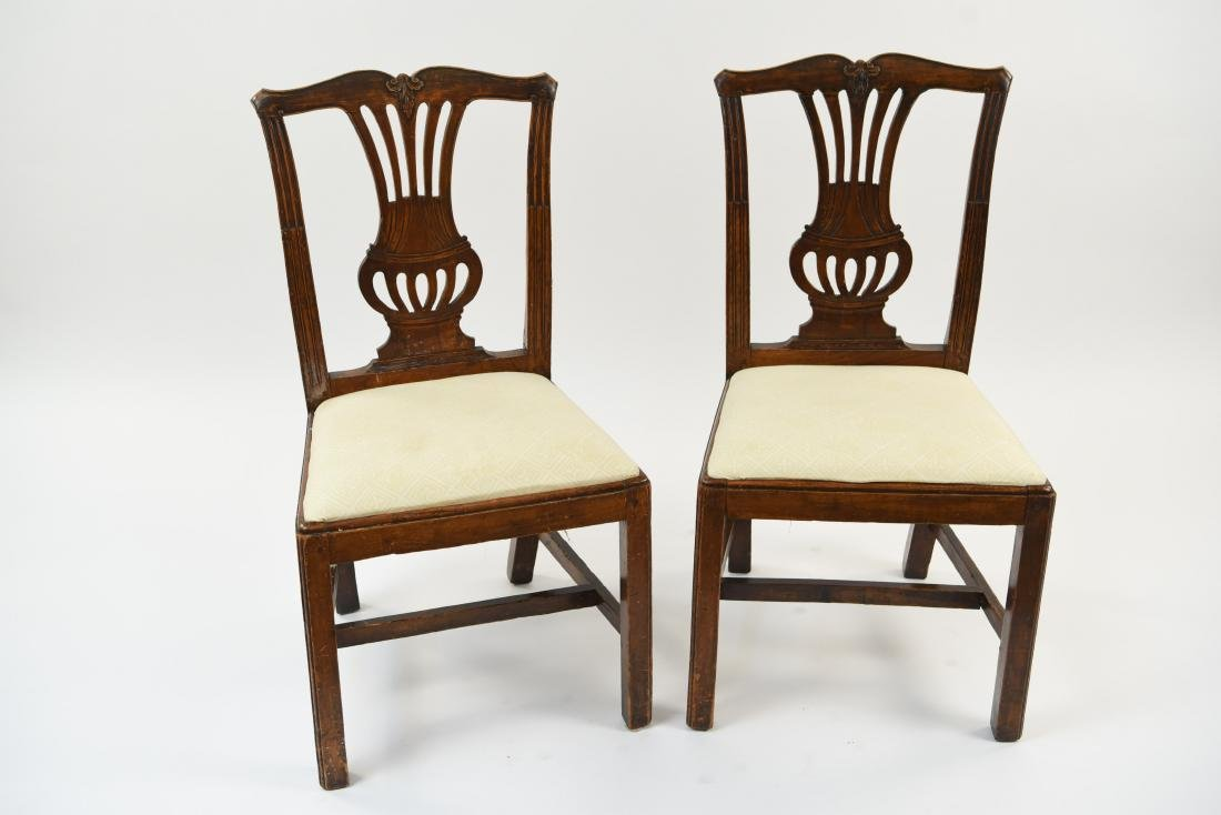 PAIR OF ENGLISH CARVED BACK SIDE CHAIRS - 2