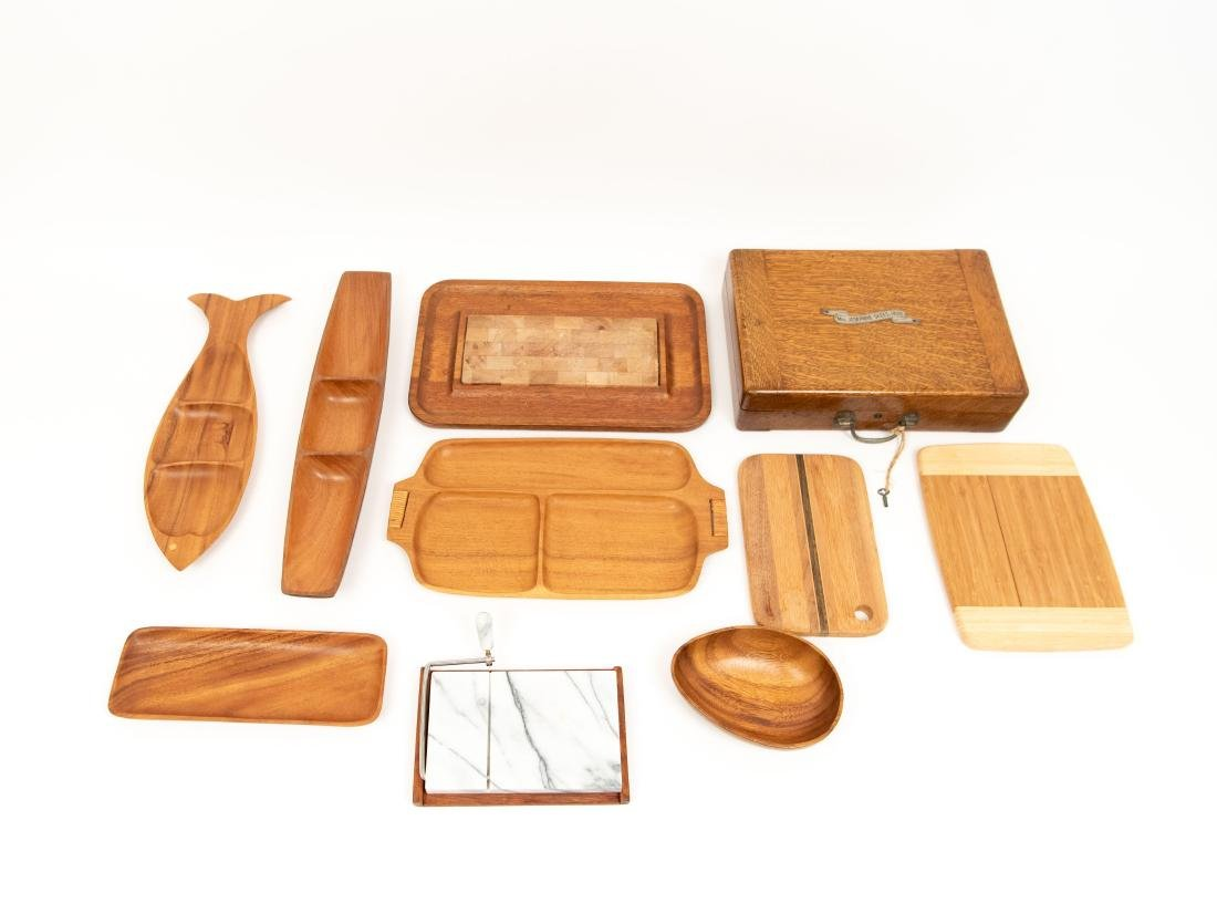 WOODEN SERVING TRAY GROUPING ETC.