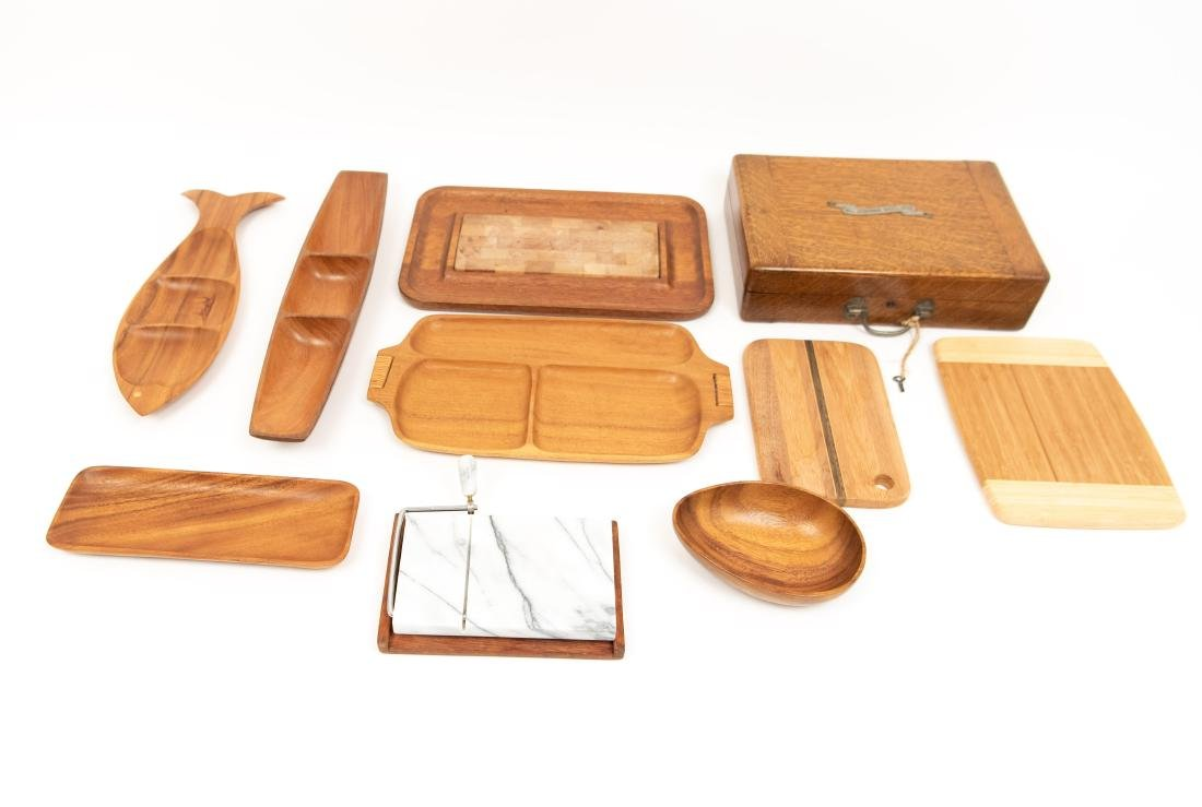 WOODEN SERVING TRAY GROUPING ETC. - 2