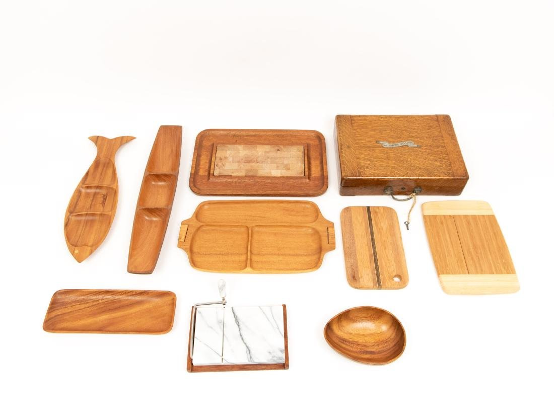 WOODEN SERVING TRAY GROUPING ETC. - 3