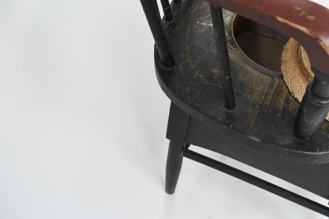 19TH C. PAINTED POTTY / COMMODE SPINDLE BACK CHAIR - 10