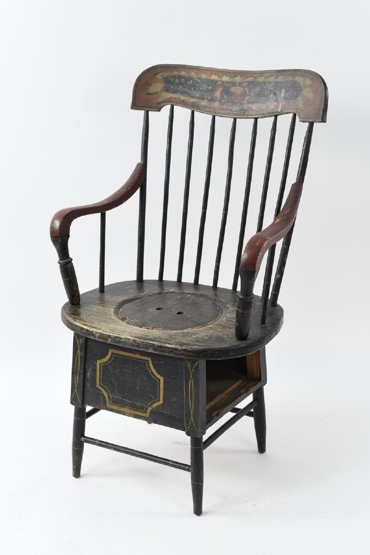 19TH C. PAINTED POTTY / COMMODE SPINDLE BACK CHAIR