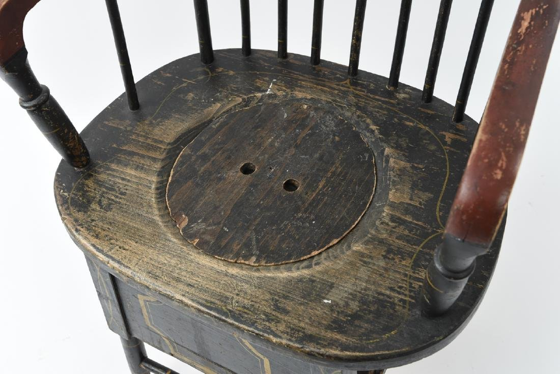 19TH C. PAINTED POTTY / COMMODE SPINDLE BACK CHAIR - 5