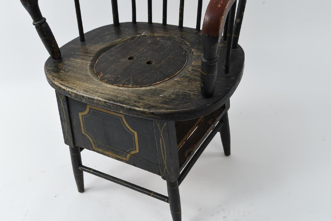 19TH C. PAINTED POTTY / COMMODE SPINDLE BACK CHAIR - 6