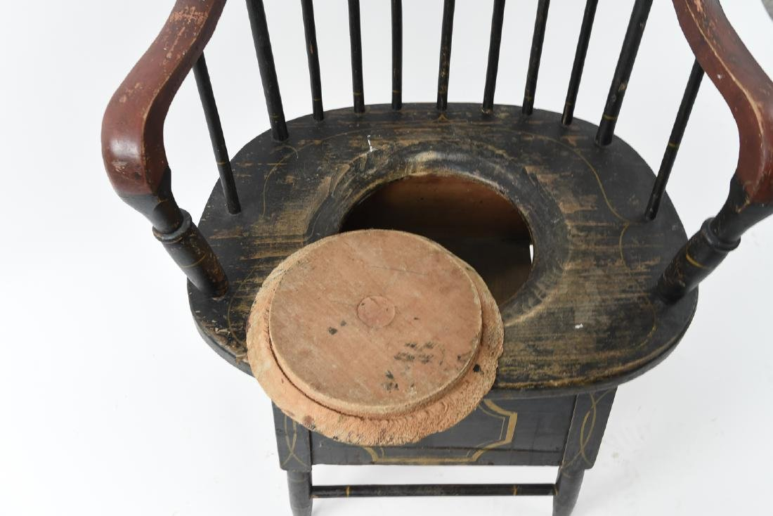19TH C. PAINTED POTTY / COMMODE SPINDLE BACK CHAIR - 9