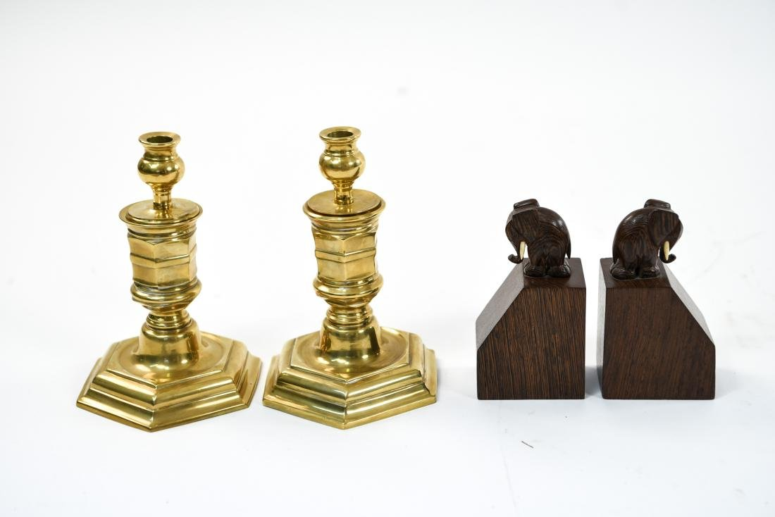 GROUPING OF CANDLESTICKS AND ELEPHANT BOOKENDS