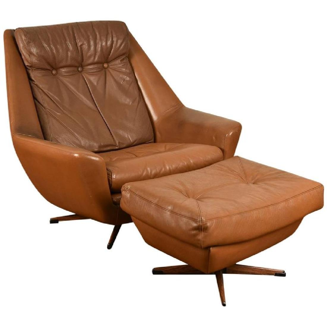 DANISH MID-CENTURY LEATHER LOUNGE CHAIR & OTTOMAN