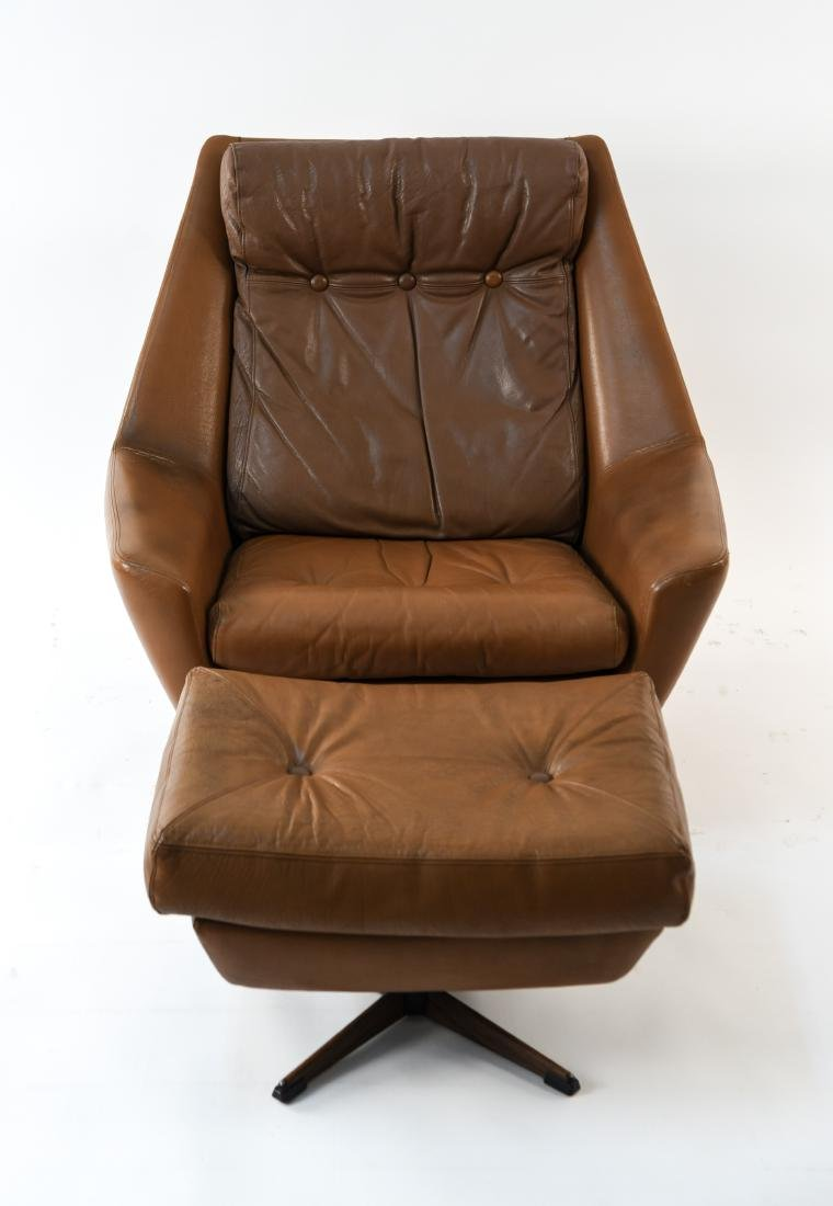 DANISH MID-CENTURY LEATHER LOUNGE CHAIR & OTTOMAN - 2