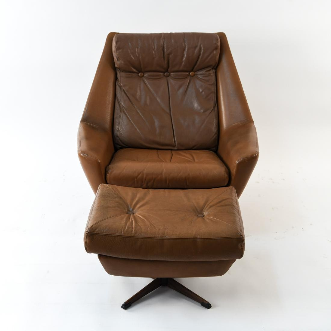 DANISH MID-CENTURY LEATHER LOUNGE CHAIR & OTTOMAN - 3