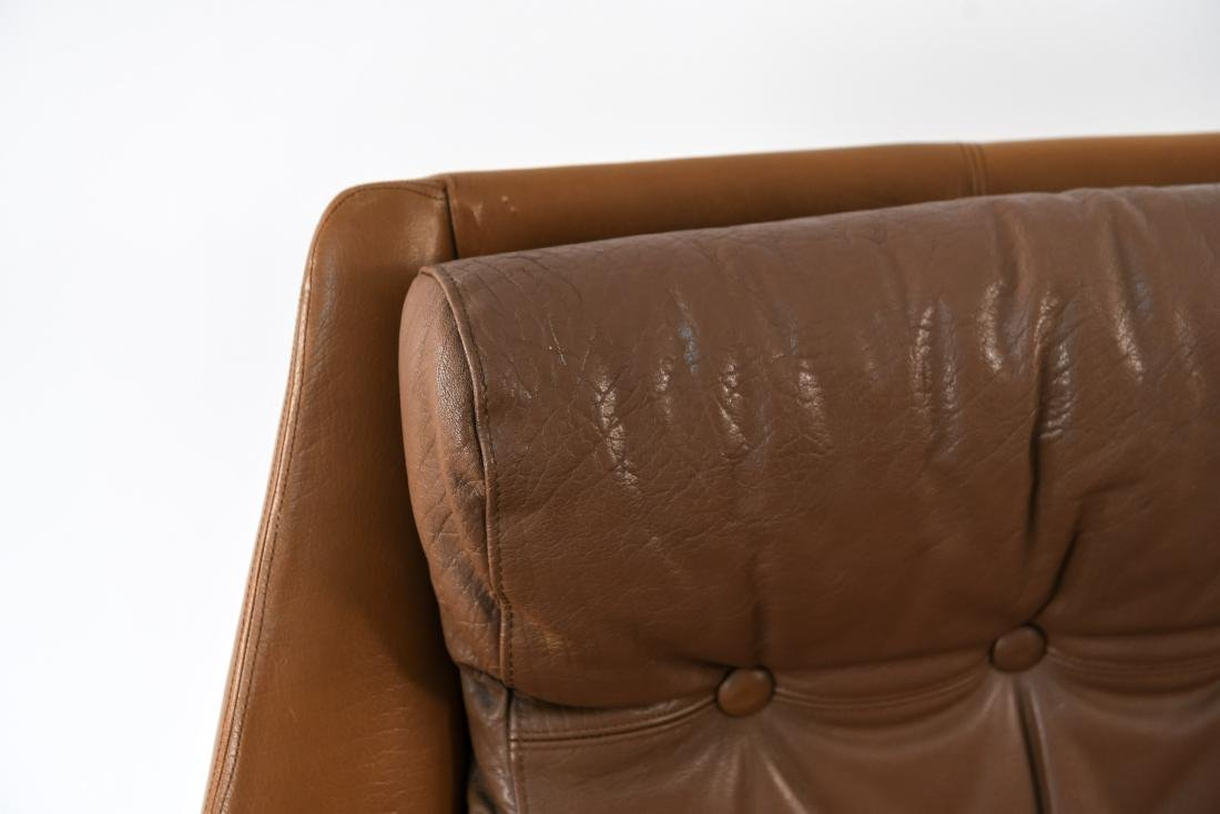 DANISH MID-CENTURY LEATHER LOUNGE CHAIR & OTTOMAN - 5