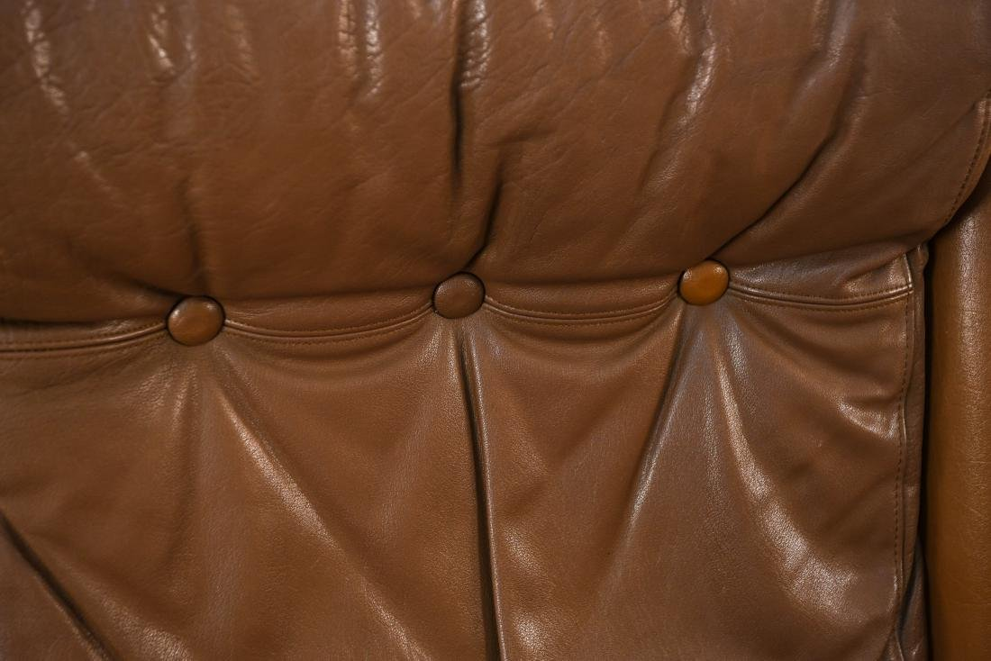 DANISH MID-CENTURY LEATHER LOUNGE CHAIR & OTTOMAN - 7