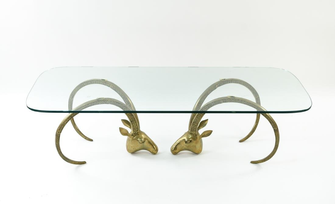 IBEX BRASS AND GLASS COFFEE TABLE