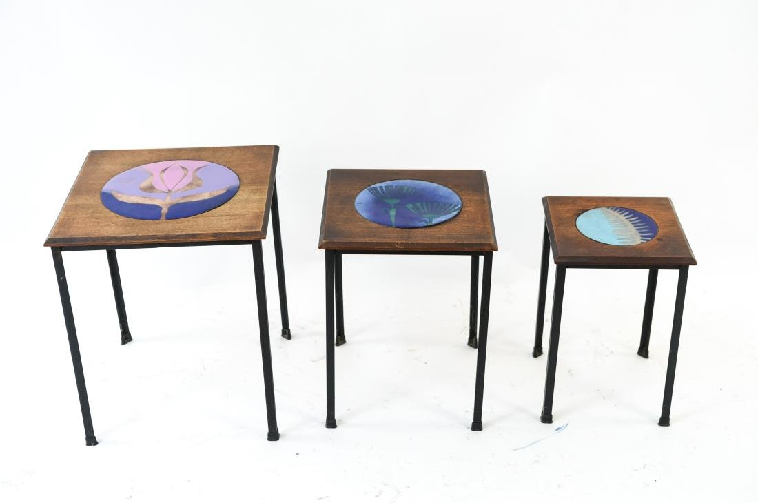 DANISH NESTING TABLES W/ ENAMEL ON COPPER