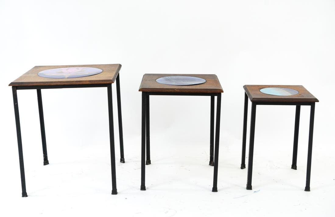 DANISH NESTING TABLES W/ ENAMEL ON COPPER - 2