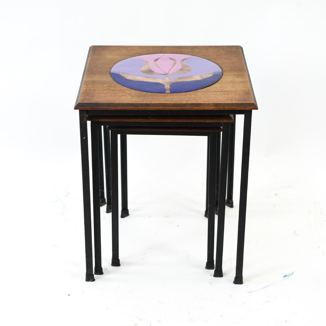 DANISH NESTING TABLES W/ ENAMEL ON COPPER - 6