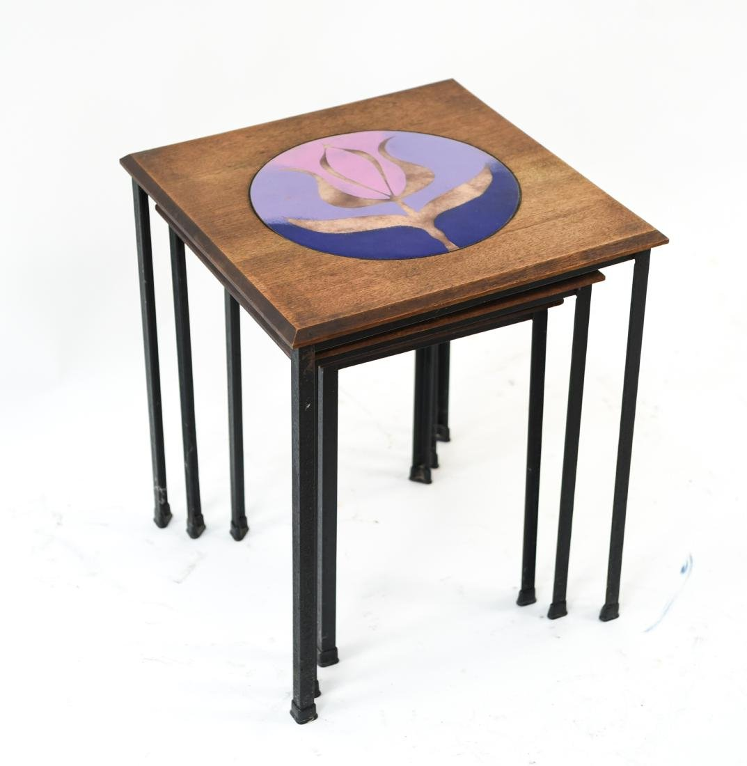 DANISH NESTING TABLES W/ ENAMEL ON COPPER - 7