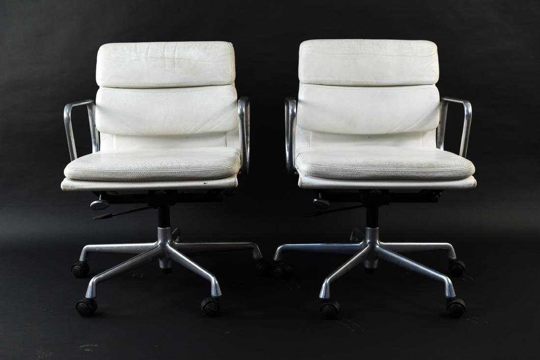 PAIR OF EAMES SOFTPAD ARMCHAIRS - 2