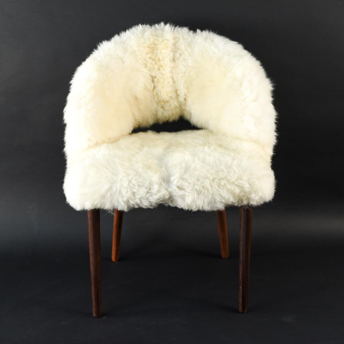DANISH FRODE HOLM VANITY CHAIR IN LAMBS WOOL
