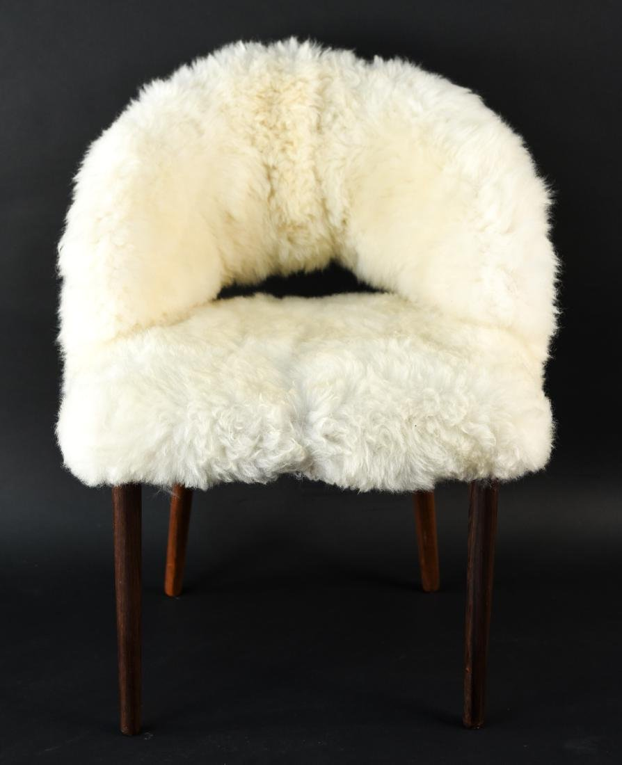 DANISH FRODE HOLM VANITY CHAIR IN LAMBS WOOL - 2