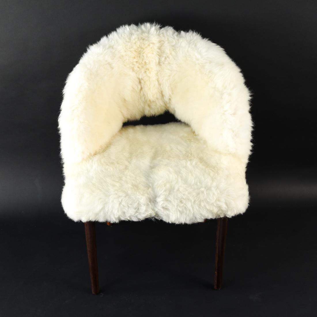 DANISH FRODE HOLM VANITY CHAIR IN LAMBS WOOL - 3