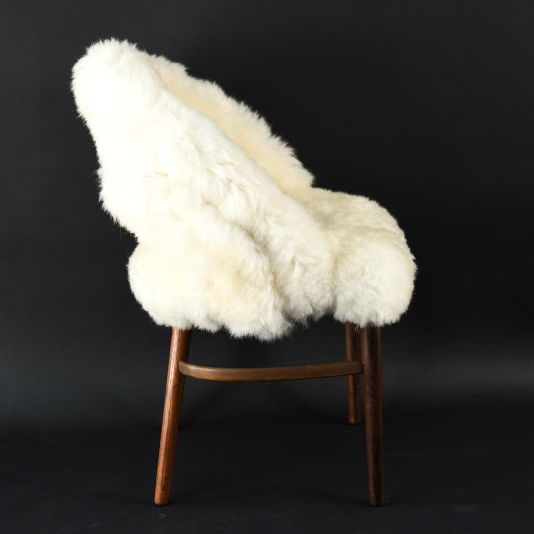 DANISH FRODE HOLM VANITY CHAIR IN LAMBS WOOL - 5
