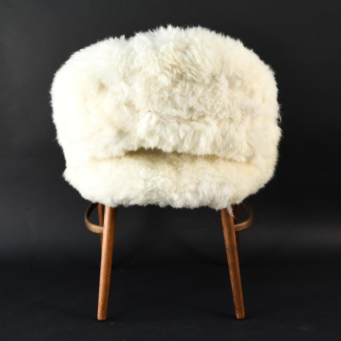 DANISH FRODE HOLM VANITY CHAIR IN LAMBS WOOL - 6