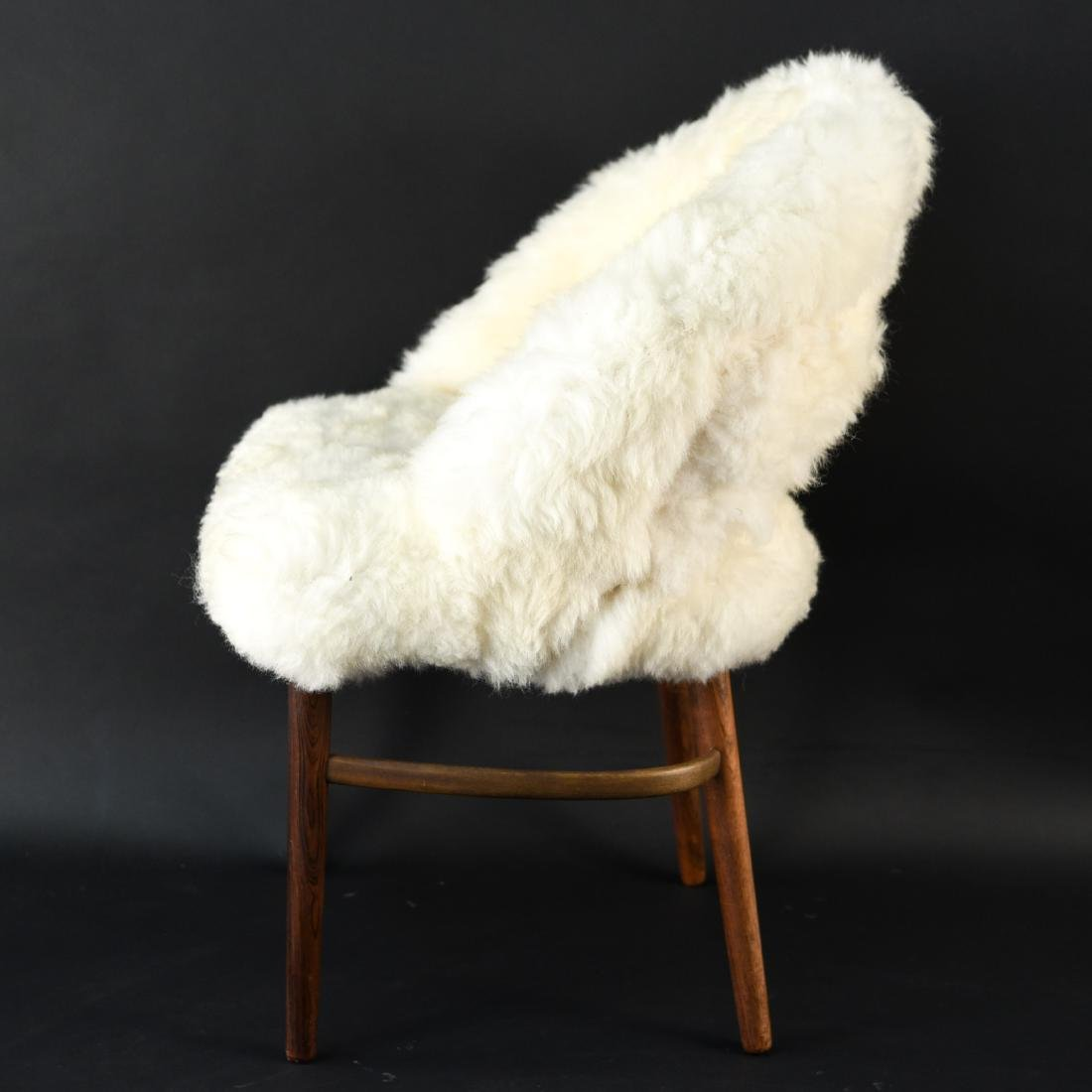 DANISH FRODE HOLM VANITY CHAIR IN LAMBS WOOL - 7