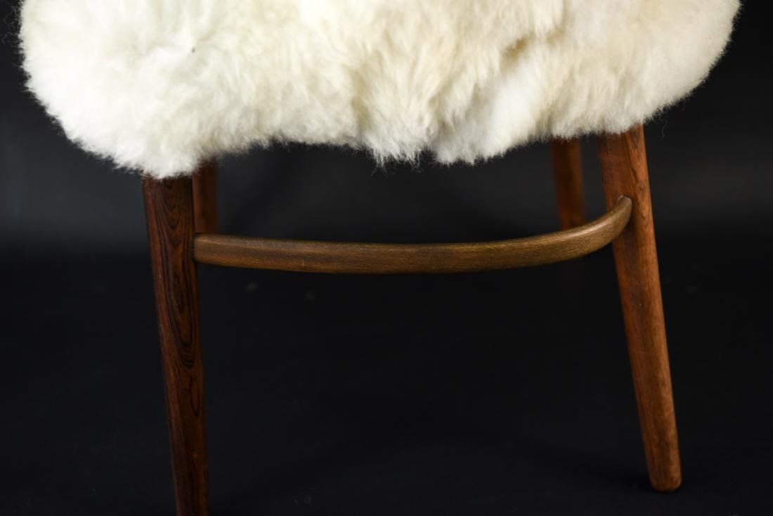 DANISH FRODE HOLM VANITY CHAIR IN LAMBS WOOL - 8