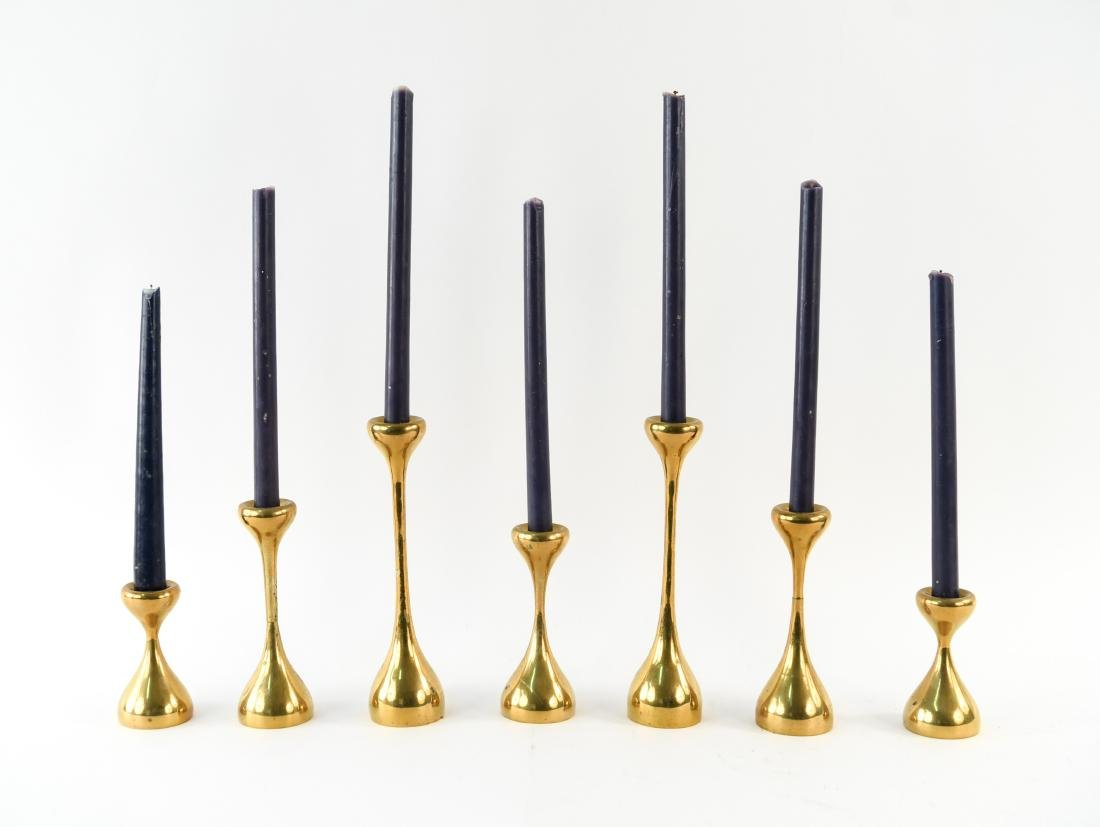 MID-CENTURY GRADUATED HEIGHT BRASS CANDLESTICKS - 2