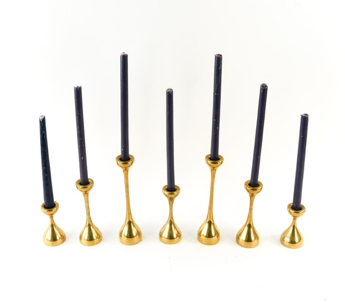 MID-CENTURY GRADUATED HEIGHT BRASS CANDLESTICKS - 3